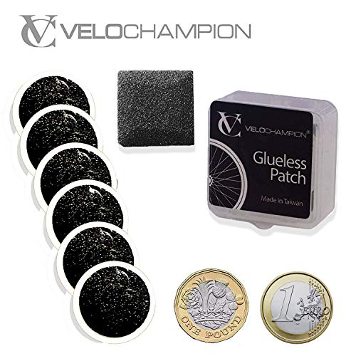 VeloChampion - Kit de parches autoadhesivos para reparación de pinchazos de rueda de bicicleta, sin pegamento, disponible en 6 o 10 unidades