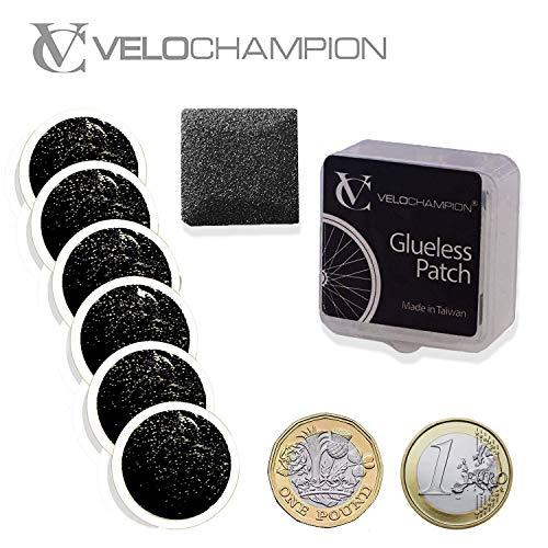 VeloChampion - Kit de parches autoadhesivos para reparación de pinchazos para bicicleta, ligero, sin pegamento, disponible en 6 o 10 unidades