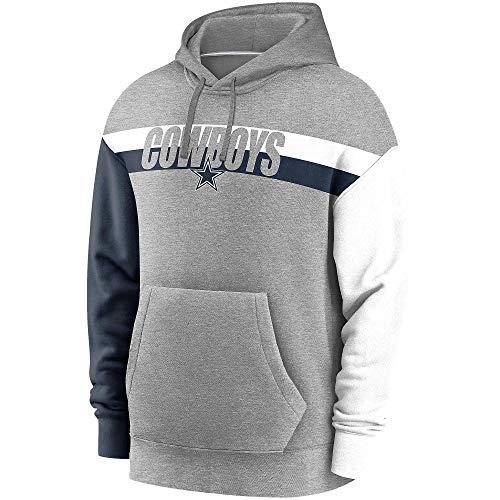 Dallas Cowboys NFL Herren Nike Wordmark Langarm Heritage Hoodie, Grau Heather/Weiß/Marineblau, XXL