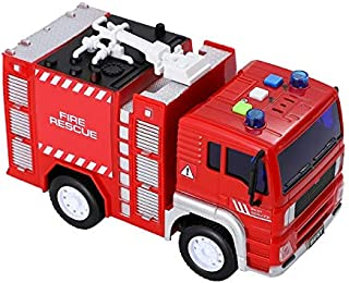 Tuk Tuk Friction Powered Fire Truck Toy Best Plastic Pursuit Rescue Vehicle with Sirens Sound and Light for Kids 1:20