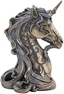 6.25 Inch Polished Antiqued and Bronze Hued Unicorn Head Candle Holder