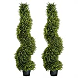My Luna Home Topiary Trees Artificial Outdoors Spiral Cypress for Home and Office Decor - Fake Tree for Use as Front Porch Decorations or Indoor Shrubbery- Pre-Potted Faux Plant UV Resistant (2)