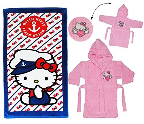 alles-meine.de GmbH 2 TLG. Set _ Strandtuch & Frottee Bademantel -  Hello Kitty  - 5 bis 8 Jahre / Gr. 116 - 140 - 100 % Baumwolle - mit Kapuze - für Kinder / Mädchen - Katze /..