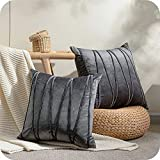Topfinel 2 Juegos Hogar Cojín Terciopelo Suave Decorativa Almohadas Fundas de Color Sólido para Sala de Estar sofás 50x50cm Gris Oscuro
