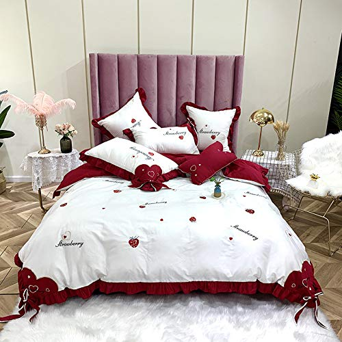 KTUCN 4/6Pc Duvet Cover Bedsheets French Pillowcase 60X60Cm Egyptian Cotton Bedding Red Strawberry Embroidery, 1, 4Pcs Usa Full