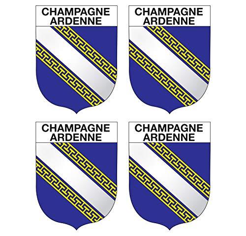 Supstick sticker voor regio Champagne-Ardenne, formaat 5 x 4 cm, 4 stuks