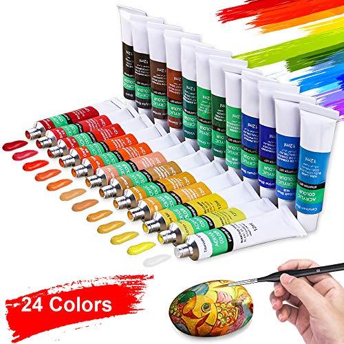Aottom Juego de Pinturas Acrilicas Manualidades de 24 Colores, Pintura Acrílica Tubos de Pinturas Pigmento de Dibujo para Artista para artistas, principiantes o niños