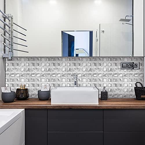 10 unidades de pegatinas de color para azulejos, vinilo de pared, azulejos de cristal, PVC, azulejos de pared autoadhesivos, decoración para cocina, baño, dormitorio, salón (S)