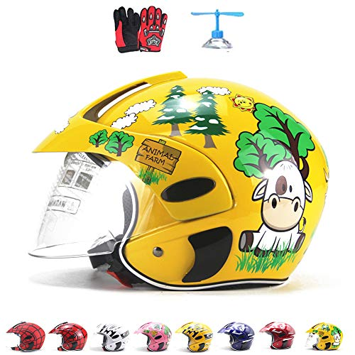 Casco de motocross para niños, casco de la motocicleta para los niños, muchachos y chicas, bicicletas, motos, deportes al aire libre, parasol, regalo, de 3-10 Años de Edad, 48 ~ 52 CM,Yellow cartoon
