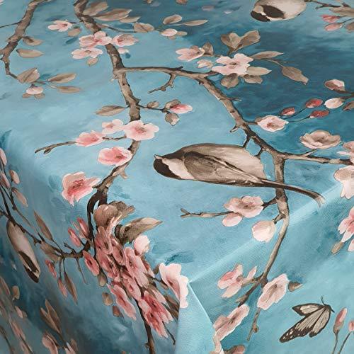 DecoHomeTextil Wachstuch Wachstischdecke Tischdecke Gartentischdecke Vogel Spatz Türkis Größe wählbar 110 x 140 cm Eckig abwaschbar