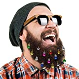 DecoTiny 16pcs Beard Ornaments. 4 Sounding Jingle Bells and 12 Colors of Christmas...