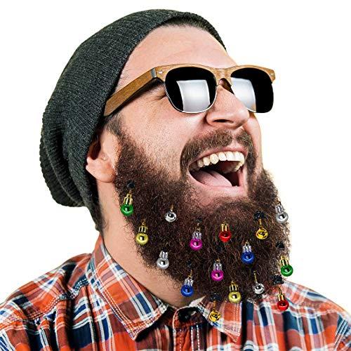 DecoTiny 16 Pezzi Ornamenti per Barba Illuminati, 12 Pezzi Lampadina, 4 Pezzi Jingle Bells Ornamento per Barba, Un Grande Regalo per Natale e Capodanno (16 Pezzi) (16 Ornaments)