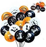 100 globos de Halloween, globos de decoración de látex para fiestas divertidas de Halloween, globos de colores con calavera fantasma calavera campañoles globos de calabaza