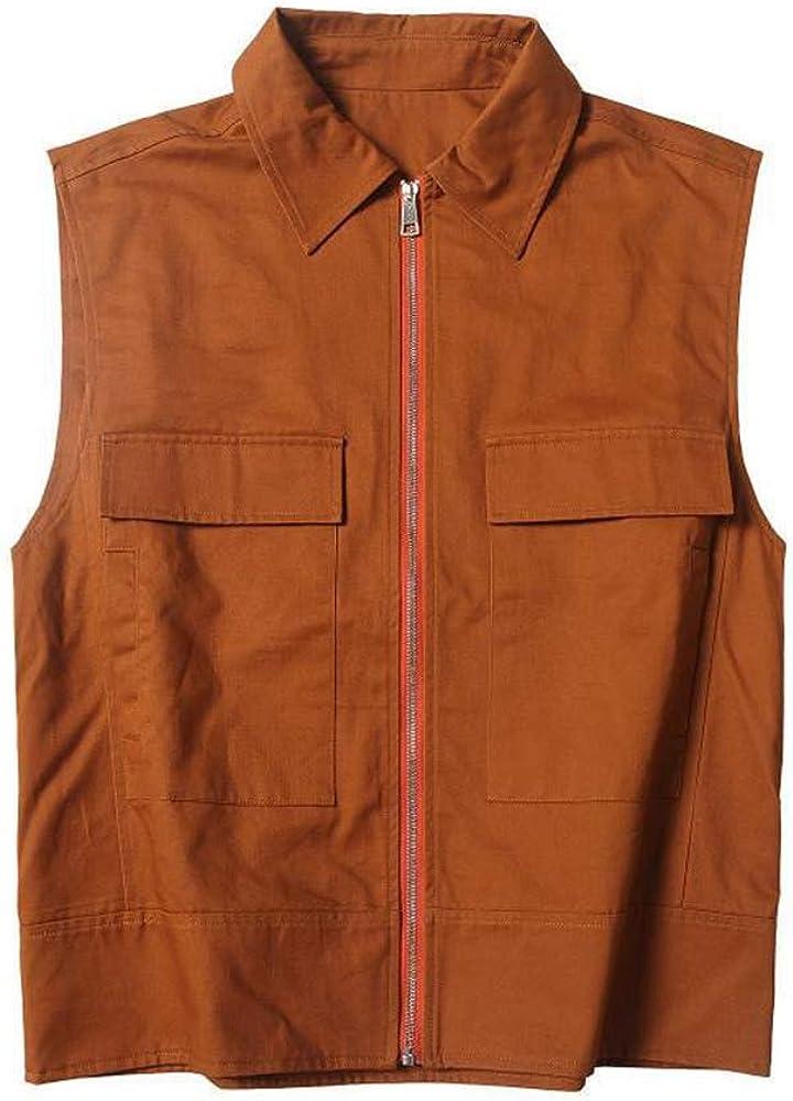 Rizanee Vintage Zipper Work Vest, Men's Retro Versatile Waitcoat