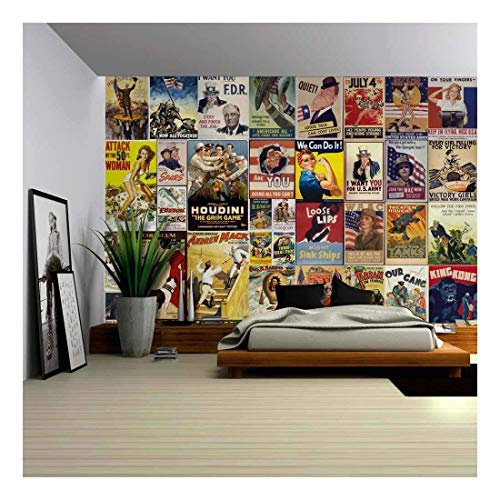 "wall26 - Peel and Stick Wallpapaer - American Posters Collage with Vintage War Propaganda and Classic Movie Posters | Removable Large Wall Mural 66""x96"""