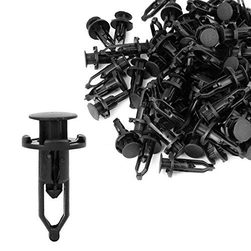 sourcing map 100 Pcs Noir Poussoir Fixation Rivet de Fixation clippé 52161-02020 pour Toyota