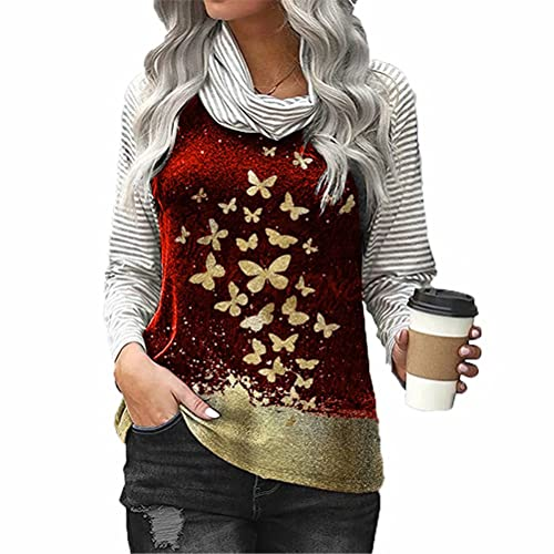 ZFQQ Otoño e Invierno Camiseta Estampada de Manga Larga con Cuello de Pelo de Manga Larga a Rayas para Mujer
