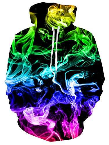 Spreadhoodie Herren 3d feuer hoodie rauchen für feuer rauch-muster leichter pullover hoody mit rundhalsausschnitt sweatshirts mit tasche xl firesmoke1