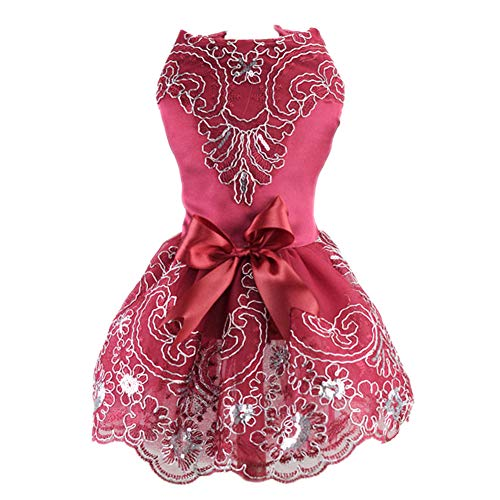 NACOCO Dog Lace Wedding Dress Tutu Skirt Puppy Cat Floral Princess Dress Pet Birthday Party Costume
