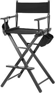 EBTOOLS Silla de maquillaje, color negro, ligera, portátil, silla de director profesional, plegable, con bolsas laterales