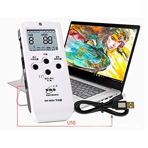 DishyKooker EM-988A Elektronisches Vokalmetronom für universelles Vocal Rhythm Guitar Violin Drum Piano Lademodell Weiß