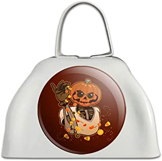 Jack O Lantern Halloween Candy Sugar Salt Bae Pumpkin White Metal Cowbell Cow Bell Instrument