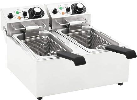 Festnight- Freidora Eléctrica Doble Freidora Industrial de Acero Inoxidable 12 L 4000 W
