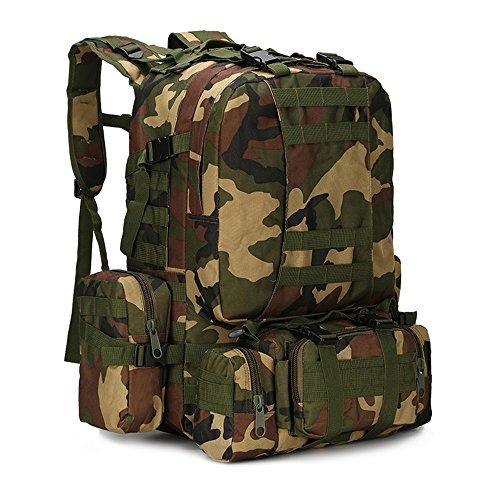 Dohot Grand sac à dos imperméable Molle de style militaire pour randonnée, camping, 60 L, Motif camouflage