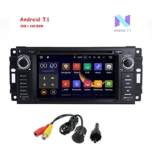 MCWAUTO Android 7.1 Car Stereo GPS DVD Player for Dodge Ram Challenger Wrangler JK Head Unit Single Din 6.2