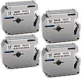 AKEN Compatible Label Tape Replacement for Brother P Touch Label Maker PT-M95 PT-70(BM)PT-90 PT-65 PT-70SR PT-85, M Tape M-K231s M231 M-K231 MK231 12mm 0.47 1/2 Inch x 26.2 Feet Black on White, 4-Pack