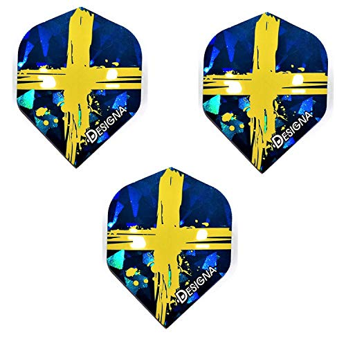 DESIGNA Holografische Dart-Flights, Schweden-Flagge, 75 Mikron (3 Sets – 9 Flights)