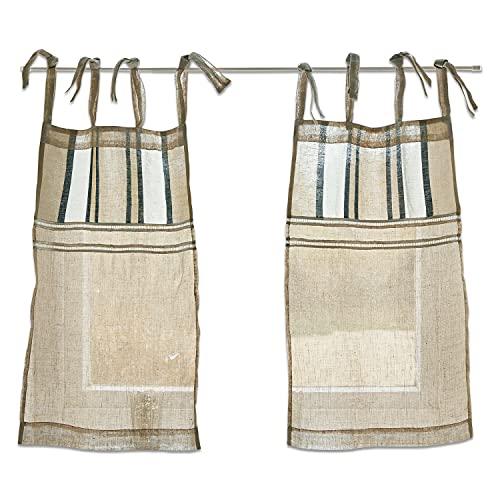 Loberon Lot de 2 Brise-bise Karla - H/L env. 70/50 cm, Rubans: Largeur: 40cm - Lin - Coton, Lin