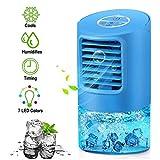 EEIEER Aire Acondicionado Portátil Enfriador Aire, 4 IN 1 Móvil Mini Turbo-Ventilador Humidificador Purificador de Aire Personal Enfriador Climatizador Portátil Air Cooler para el hogar, Cocina