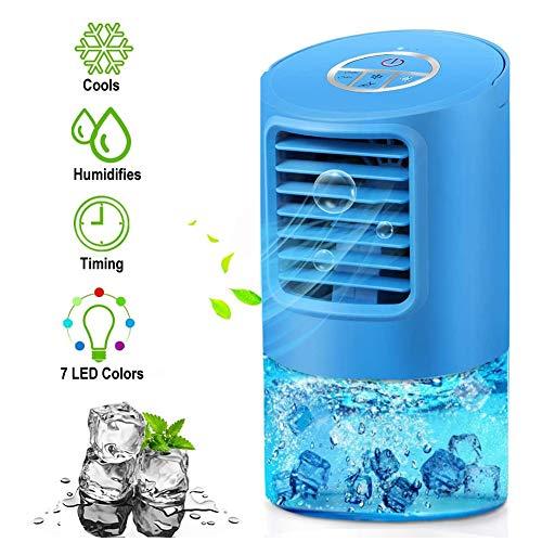 EEIEER Mobile Klimaanlage Mini Luftkühler Luftbefeuchter Klein Persönliche Klimagerät Mobil, 4 in 1 Tragbare Mini Klimaanlage Air Cooler Ventilator Leise mit 2 Timer 3 Geschwindigkeiten 7 Farben LED