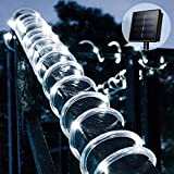 Solar Rope String Lights Outdoor 33ft 100 LEDs Copper Wire Lights Waterproof for Holiday Christmas Party Home Yard Patio Road Tree Balcony Pathway Decoration Lights -Cool White