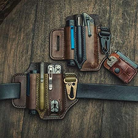 Funda de piel Aemiy funda para cintur/ón de cuchillos//linterna de cuero//para Leatherman Multitools bolsa de almacenamiento para cintur/ón de almacenamiento para acampada
