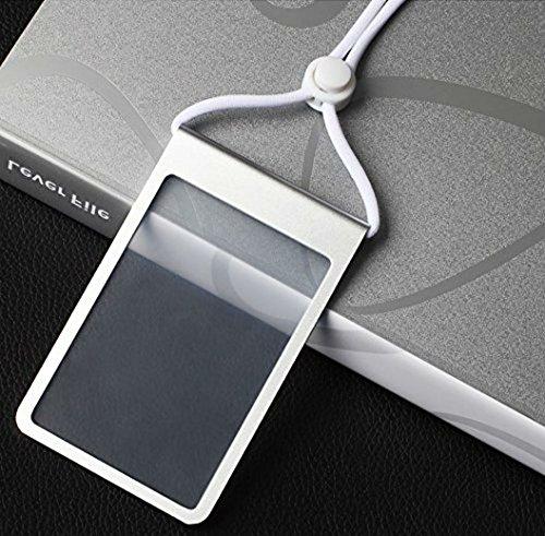 AKOAK Vertical Style Aluminum Alloy Metal ID Badge Holder ID Card Holder/w White Elastic Adjustable Neck Lanyard(Silver)