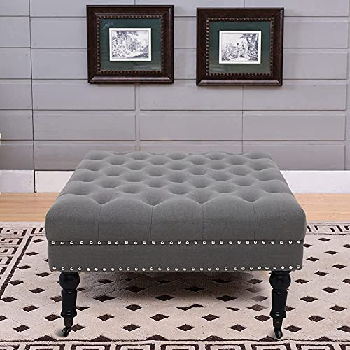 Baby Plum 34 inch Square Cocktail Ottoman Tufted Button with Rolling Wheels Nail-Head Trim Foot Rest Stool/Seat for Bedroom, Living Room and Hallway (Dark Gray)