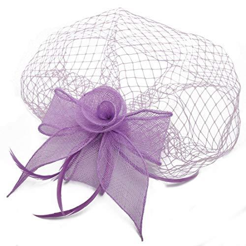Ouzhoub Accessoires pour Cheveux, Cocktail des Femmes de Tea Party Hat Clip Cheveux élégante Fleur Veil Maille Plume Fascinators Chapeaux de Dames de mariée Mariage Couvre-Chef (Color : Light Purple)