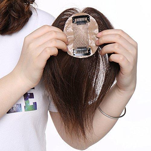 Haarteil Topper Remy Echthaar Clip in Extensions Haarverlängerung Pony Toupee Frauen Toupet Mittelbraun#4 16
