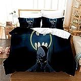 Batman (Azul Oscuro) Funda Nórdica Impresa en 3D Juego de Cama demicrofibra Suave (con Cierre de Cremallera) 140*200cm Y Dos Fundas de Almohada 50*75cm Apto para Adultos Y Niños