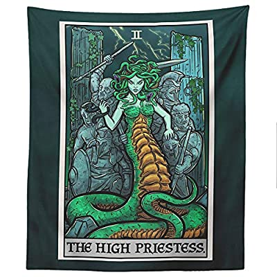 "The High Priestess Tarot Card Tapestry - Medusa - Greek Mythology Home Decor Wall Hanging (60"" x 50"")"