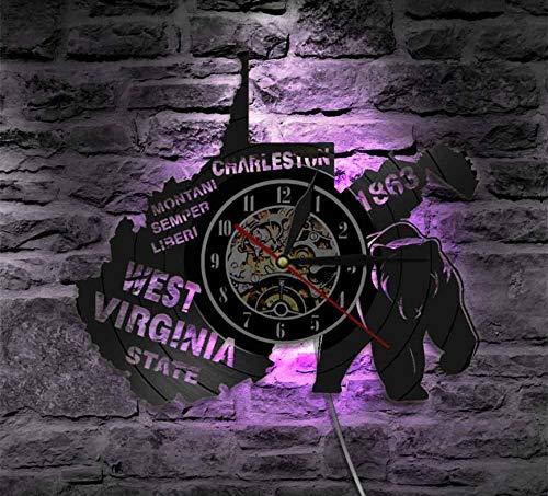CHENFANGYUAN Das Große Siegel des Bundesstaates West Virginia Wanduhr Usa State Map Charleston Montaini Sempre Liberi Schallplatte Wanduhr