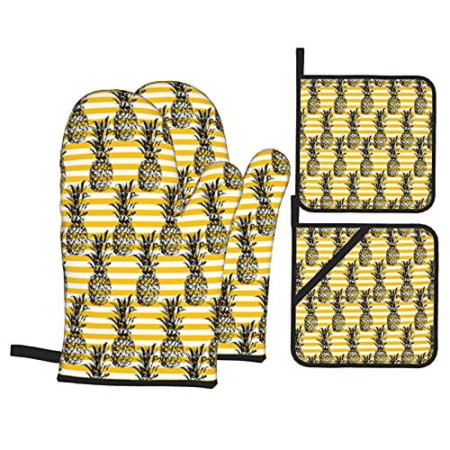 Stampa moderna con motivo di ananas di frutta,Guanti da Forno e Set di Presine,4Pcs Resistenza al Calore Impermeabile Guanti Pastiglie per Cucina Cottura BBQ