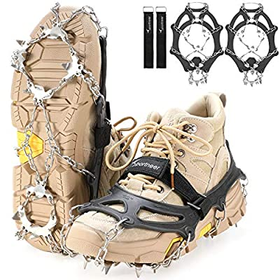Sportneer Crampons Traction Ice Cleats, 19 Spikes Stainless Steel Anti-Slip Ice Snow Grips for Women, Kids, Men Shoes Boots, Safe Protect for Mountaineering, Climbing, Hiking, Walking, L