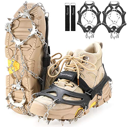 Sportneer Crampons Traction Ice Cleats 19 Spikes Stainless Steel AntiSlip Ice Snow Grips for Women Kids Men Shoes Boots Safe Protect for Mountaineering Climbing Hiking Walking L