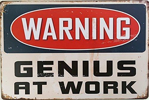 ERLOOD Warning Genius At Work Tin Sign Wall Retro Metal Bar Pub Poster Vintage Decor 12 X 8