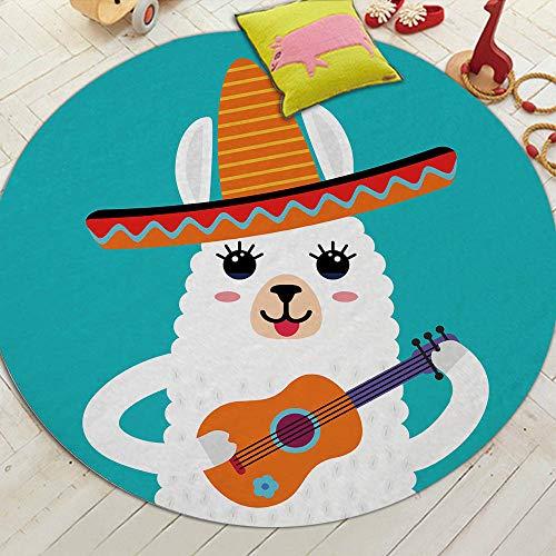 Cartoon Style Alpaca Patroon Rond Tapijt Antislip Badmat Zacht Fluffy Koraal Velvet Gebied Tapijt Voor Woonkamer Decor