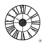 Zenhica Reloj de Pared Vintage de Metal, diseño rústico Elegante. Decoración para el hogar. 36,5 cm de Diámetro, Gancho para Colgar. (Negro)