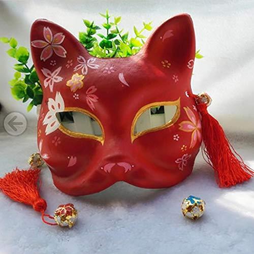 FYPmj Mascara de Baile Gato Pintada a Mano Japonesa de Kimono Negro, antigüedades máscara del Zorro Cosplay, Macho y Hembra máscara del Zorro, de plástico Verde y una máscara de Viento Mascara Facial